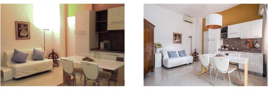 Comparison of two Airbnb photos - one bad, one good
