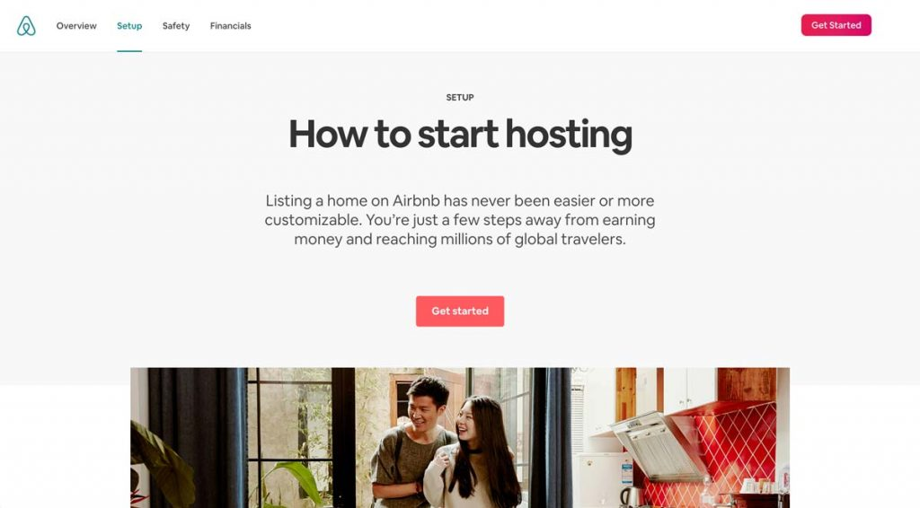 Airbnb website - How to start hosting